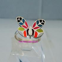 Anillo De Mariposa Multicolor En Plata Ley 0.925