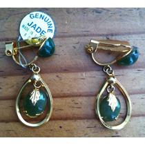 Aretes Jade Y Chapa De Oro - Hasta 10 Mayo