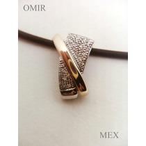 Dije Oro 14k Con 16 Diamantitos Moderno Para Cadna O Caucho