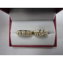 Set De Anillos De Matrimonio 14k Diamantes .26 Cts G Vvs2