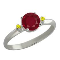1.07 Ct Redondo Rojo Rubí Canarias Diamond Anillo De Plata