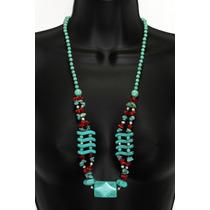 Collar De Piedra Howlita Y Turquesa Ccpn208