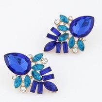 Aretes De Cristal En Tonos Azules Nuevos Precio Mayoreo
