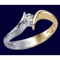 Anillo Compromiso 14k Diamante Natural .15 Puntos G Vvs2