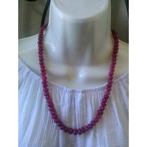 Collar De Rubies Naturales Tallados A Mano Con Proche Plata