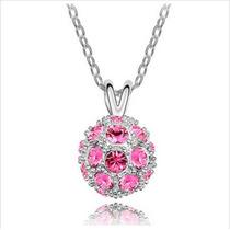 Hermoso Collar Con Globo De Cristal (rosa)