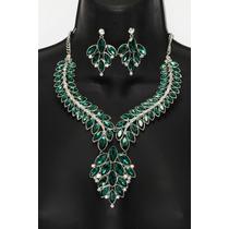 Conjunto Elegante Verde Flor Collar Y Aretes Ce09