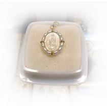 Medalla De La Virgen De Guadalupe, Oro De 14 K Y Madre Perla