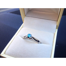 Anillo Solitario Con Diamante Natural Azul Redondo .25 Ct.