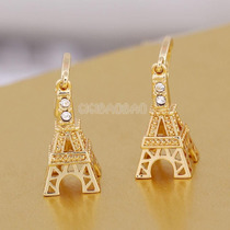 Subasta Preciosos Aretes Torre Eiffel Laminado Oro 18k