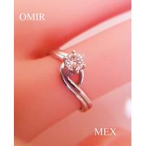 Anillo Compromiso Diamante Oro Blanco 14k Solitario Fino