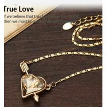 Collar Cupido De Cristal Swarovski Café Con Cadena Oro 18k