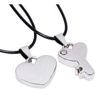 Collar Dije Pareja Corazón + Llave Acero Inoxidable Amor!
