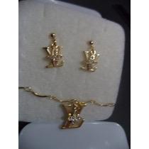 Lv Juego De Aretes Y Collar Chapa De Oro 10k Y Zirconias