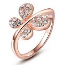 Anillo Cristal Swarovski Elements Oro Rosa Modelo Env Gratis