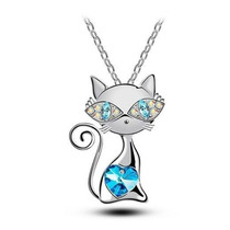 Regalo Hermoso Collar Kitty Gatita Corazón Swarovski Element