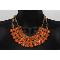 Collar Moda Anaranjado, Abanico Cuentas Naranjas