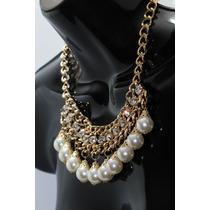 Collar Moda Perlas Y Pedrería Eslabón Dorado