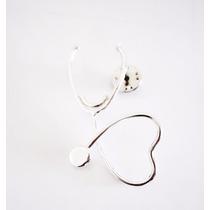 Pin Estetoscopio Corazón Medico Plata.925 El Relicario