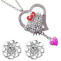 Hermosos Aretes Corazón Swarovski Element Regalo Hello Kitty