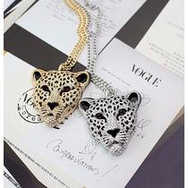 Genial Regalo Collar Largo Leopardo Gato Swarovski Element