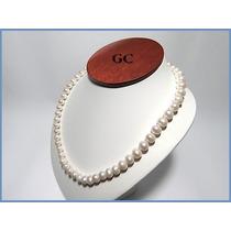 Collar De Perlas Naturales Con Broche De Plata Sencillo Acc