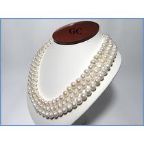 Collar De Perlas Naturales Con Broche De Plata Triple Acc