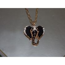 Collar Largo Dorado Hindu Elefante Negro Con Cristales