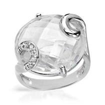 Anillo Con Cristal Corte Diamante Y Zirconias Para Dama.