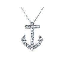 Diamond Ancla Colgante, Collar De 1/10 Quilates (ctw) En 10k