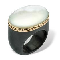 Madre-de-perla Negro Jade Griego Clave 14k Oro-tamaño 10