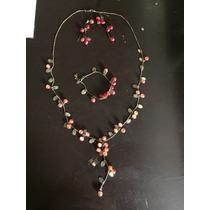 Aretes Collar Y Pulsera Vintage De Cerezas