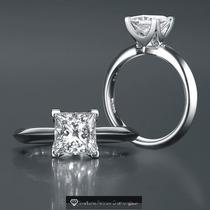 Anillo De Compromiso Con Diamante Corte Princess 1.50 Cts