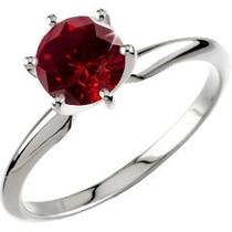 Anillo Con Diamante Rojo Corte Redondo De 1.00 Cts.
