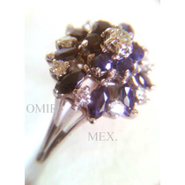 Anillo # 8 Oro 14k Platinado Zafiros Marquiz Diamantes Round
