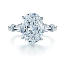 Anillo Compromiso Diamante Corte Oval Y Baguettes En Oro 14k