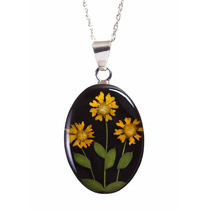 Collar Y Dije De Plata Flores Amarillas Naturales Miniatura