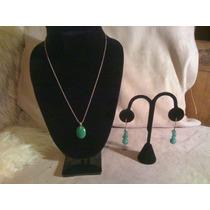 Precioso Set Aretes Y Collar Plata .925 Y Jade