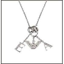 Increible Collar Emporio Armani D Plata C/ Dijes Y Cristales