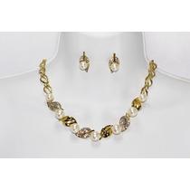 Conjunto Elegante Oro Y Perlas Blancas Con Aretes Ce30