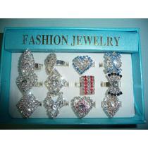 12 Anillos De Moda Fantasia Fina Con Cristales
