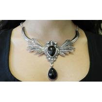 Collar Gótico De Metal Con Piedras Negras Y Diamantes