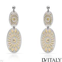 Aretes Dv Italy De Plata Con Chapa De Oro Y Diamantes