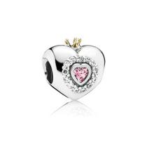 Charm Pandora Princess Heart Corona Gold Crystal