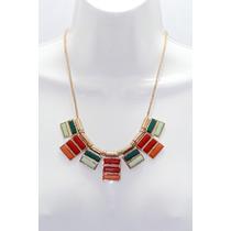 Collar Moda Colgantes Con Cristales Rojo, Naranja Y Menta