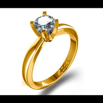 Anillo De Compromiso Con Diamante Natural .20ct En Oro 18k