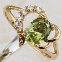 Anillo Oro Gold Filled 10k Con Peridot De 6x8mm #7