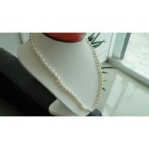 Collar De Perlas Cultivadas Blancas De 60 Cm Envio Gratis