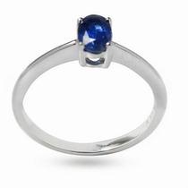 Anillo Con Zafiro Oval Natural Azul De .25 Ct. Envio Gratis