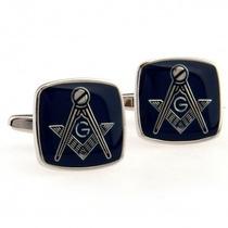 Mancuernillas Mason Masonico Masoneria Acero Plateado Negro